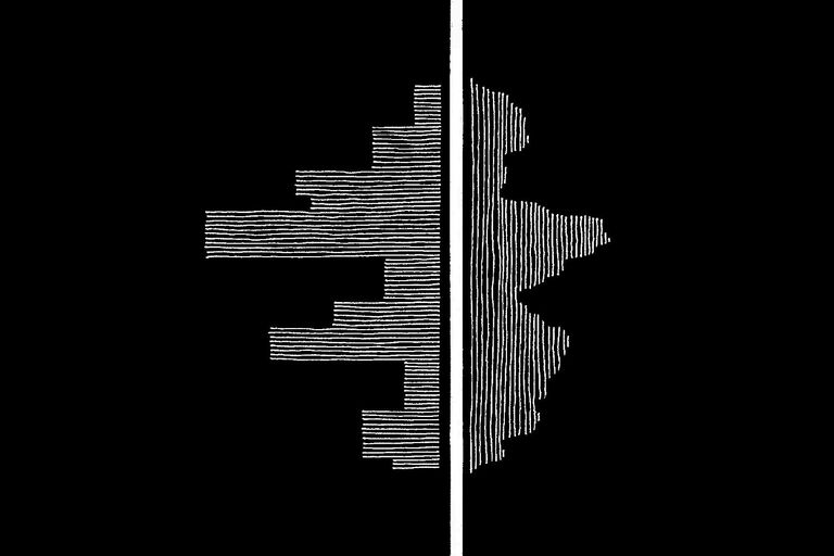 Artwork visualising the contrasting nature of album sides
