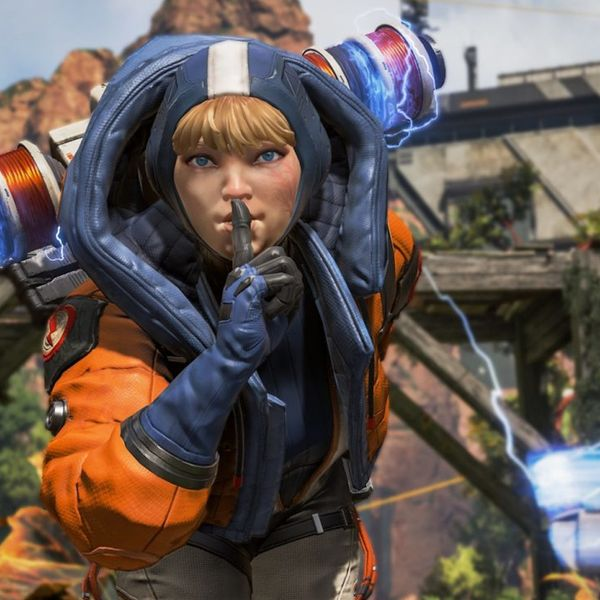 Wattson from Apex Legends shushing at the camera