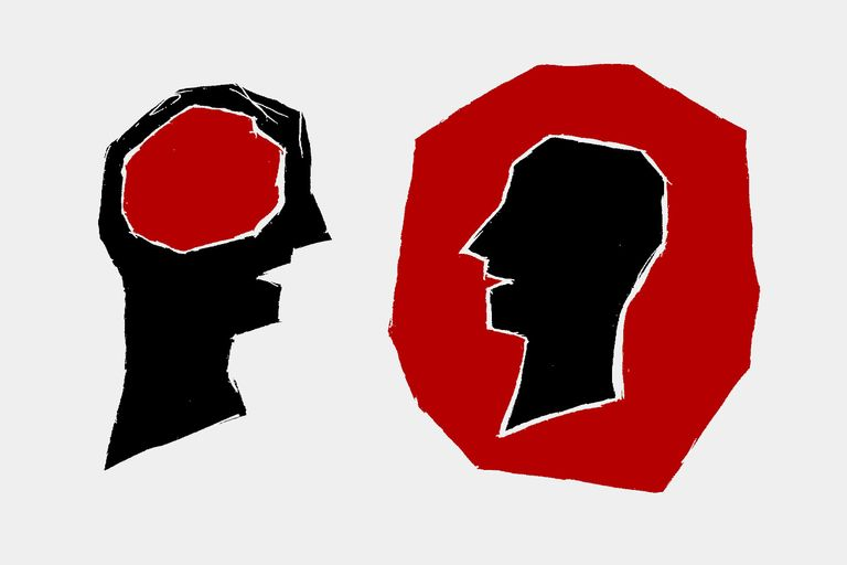 Abstract illustrations of two heads