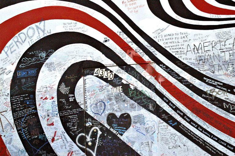Memorial wall for musician Elliott Smith.