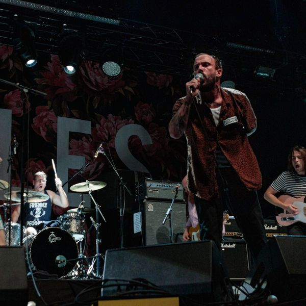 British punk band Idles performing onstage