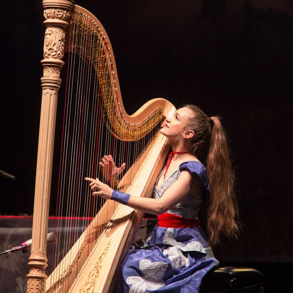 Joanna Newsom playing the harp