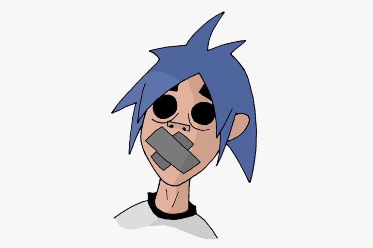 2-D from Gorillaz with his mouth taped over