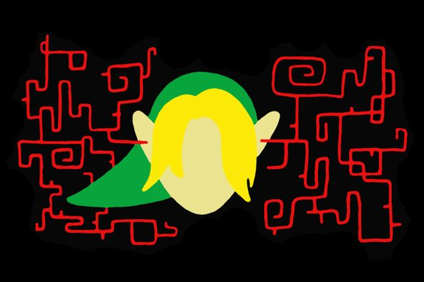 Zelda-themed artwork of Link listening to sinister music