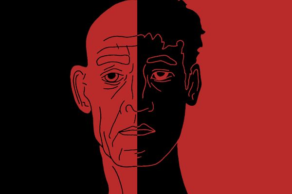 Artwork combining the faces of Fletcher and Neiman from the film 'Whiplash'