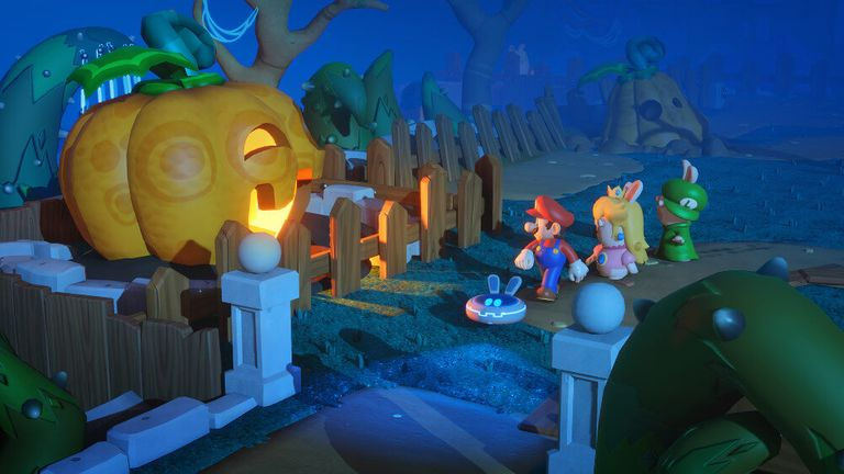 Gameplay screenshot of 'Mario + Rabids Kingdom Battle'
