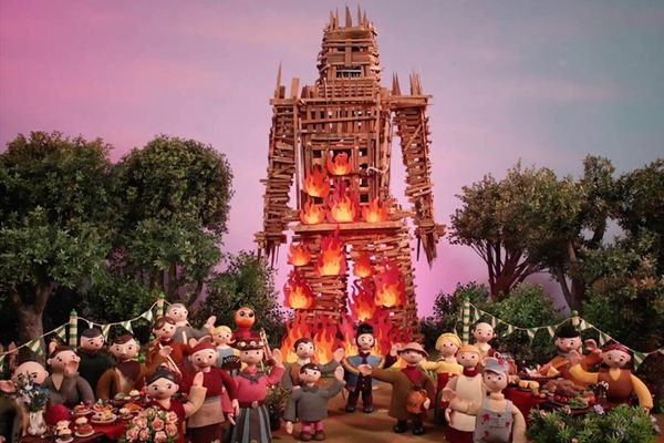 "Screenshot from the music video for Radiohead's song ""Burn the Witch"""