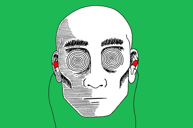 Artwork depicting a man listening to music with medical pills as ear buds