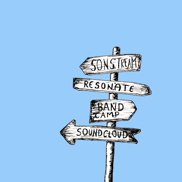 Illustration of a wooden signpost with boards pointing to different music streaming services