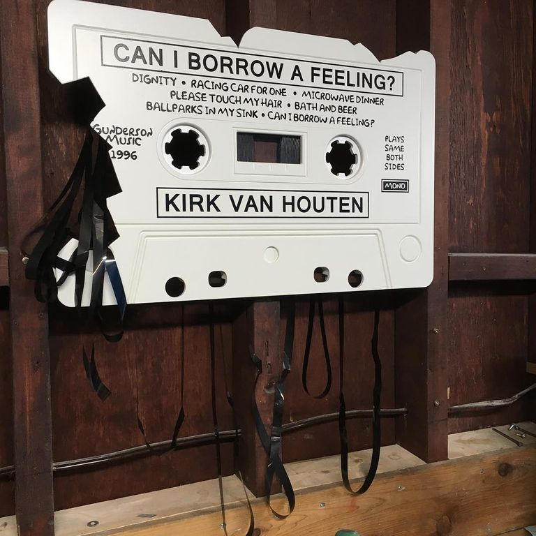Giant cassette of 'Can I Borrow a Feeling?' by Kirk Van Houten