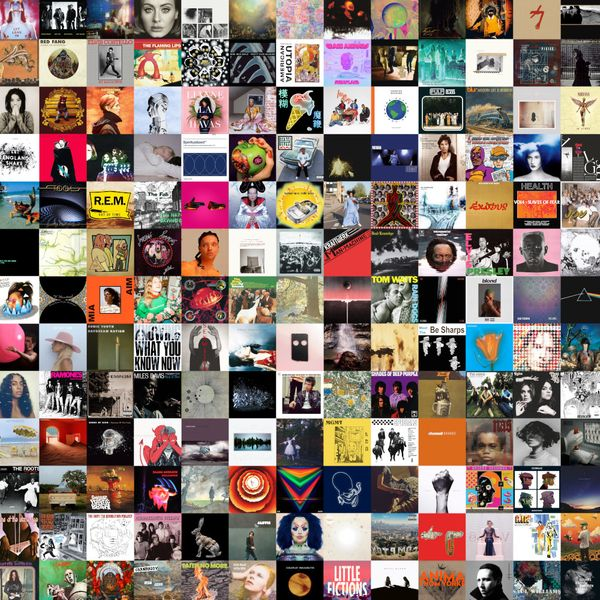 Collage of the first 250 albums reviewed by Audioxide