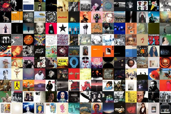 Collage of the first 150 albums reviewed by Audioxide