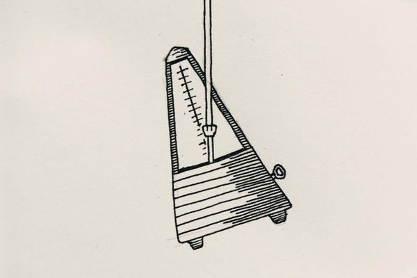 Ink drawing of a metronome hanging in the air