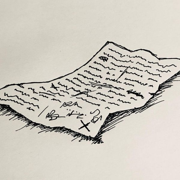 Ink drawing of a contract drawn on a pub napkin