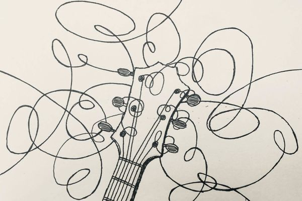 Ink drawing of a guitar with absurdly long strings